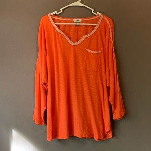 Old Navy • Coral cotton 3/4 sleeve tunic top. XXL